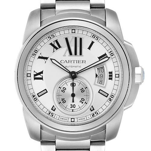 Photo of Calibre De Cartier Silver Dial Steel Automatic Mens Watch W7100015
