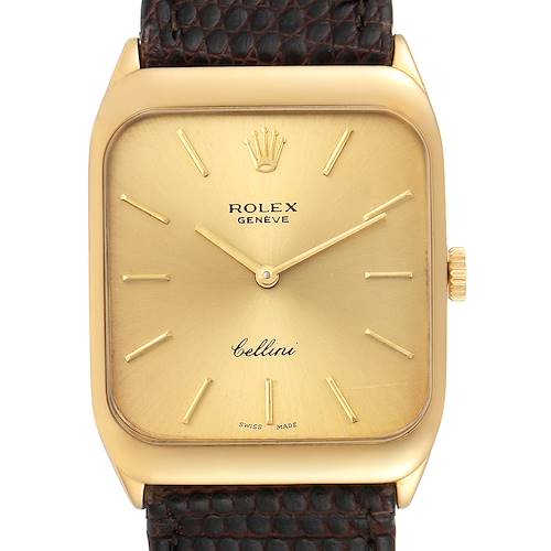 Photo of Rolex Cellini 18k Yellow Gold Brown Strap Mens Vintage Watch 4027