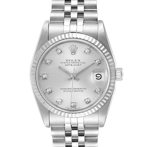 Photo of Rolex Datejust Midsize Steel White Gold Diamond Dial Ladies Watch 68274 Box