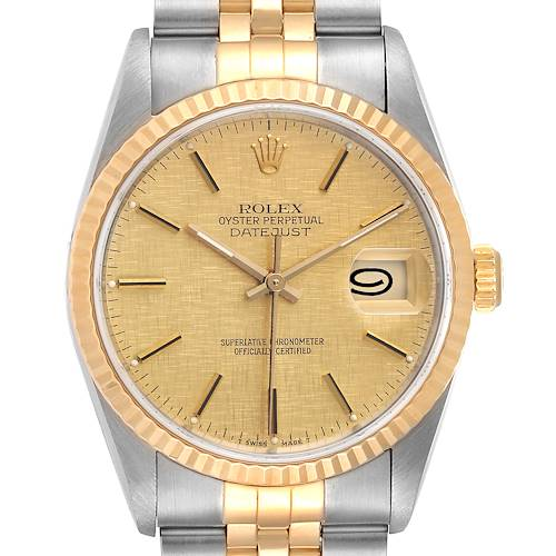 Photo of Rolex Datejust Steel Yellow Gold Linen Dial Mens Watch 16233