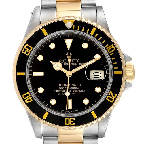 Photo of Rolex Submariner Steel 18K Yellow Gold Black Dial Mens Watch 16803