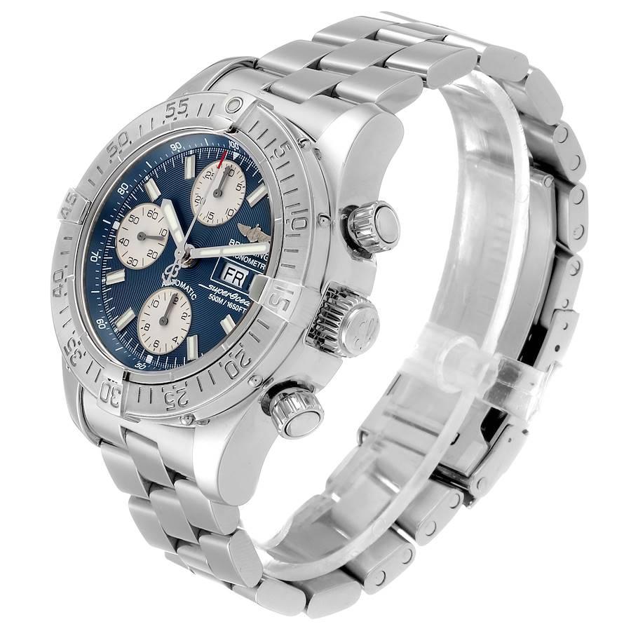 Breitling Aeromarine Superocean Blue Dial Mens Watch A13340 Box SwissWatchExpo