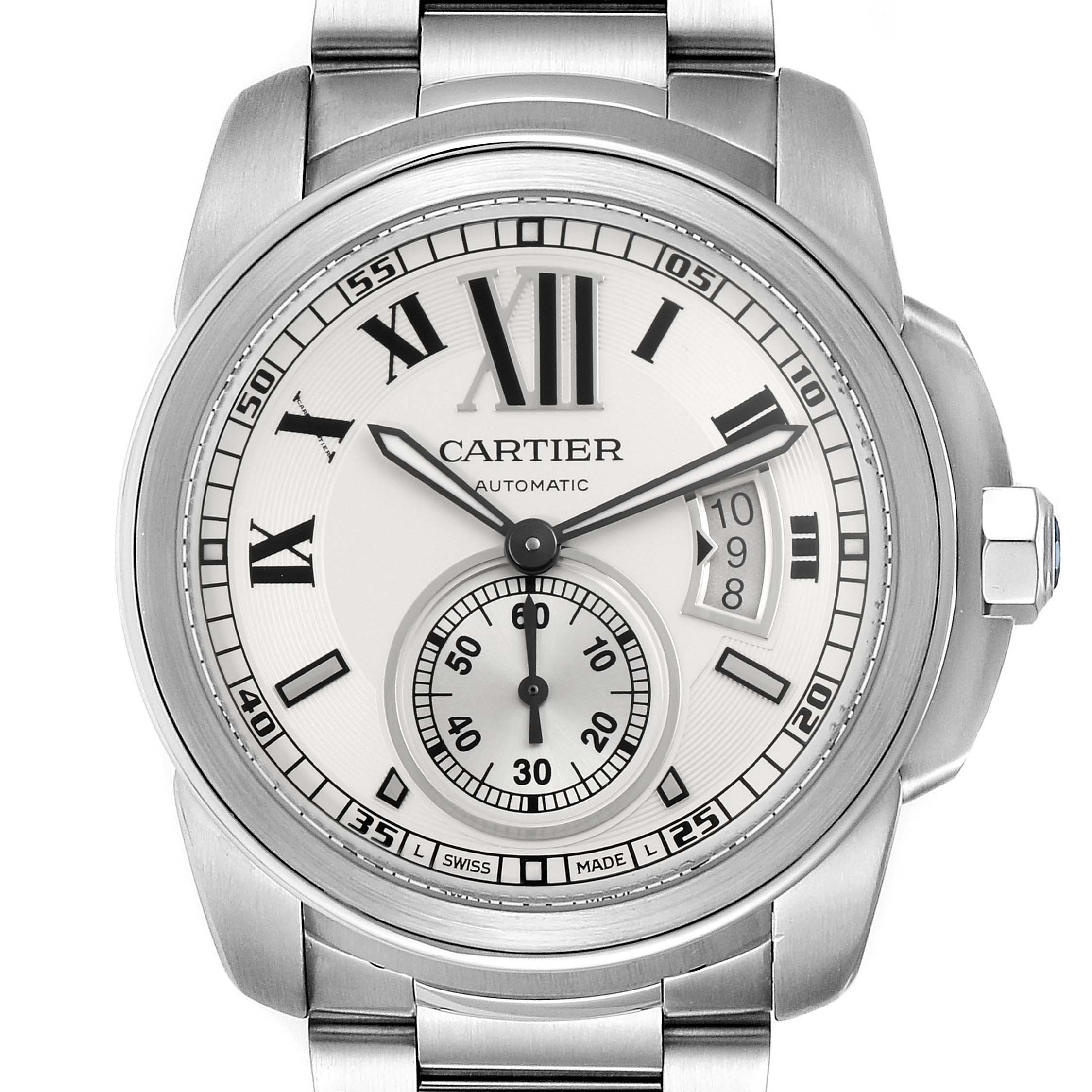 Calibre De Cartier Silver Dial Steel Automatic Mens Watch W7100015 Box Papers SwissWatchExpo