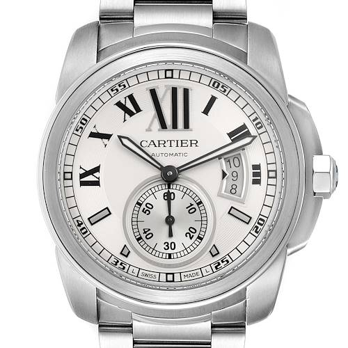 Photo of Calibre De Cartier Silver Dial Steel Automatic Mens Watch W7100015 Box Papers
