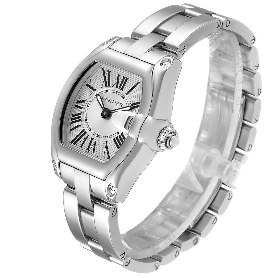 Cartier Roadster Silver Dial Small Model Steel Ladies Watch W62016V3 Box Papers SwissWatchExpo