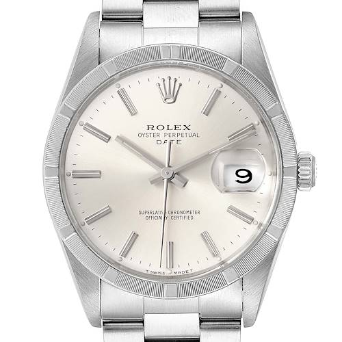 Photo of Rolex Date Silver Dial Oyster Bracelet Steel Mens Watch 15210