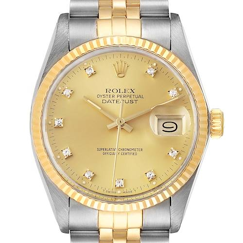 Photo of Rolex Datejust 36 Steel Yellow Gold Diamond Vintage Mens Watch 16013 Box