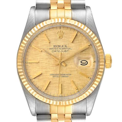 Photo of Rolex Datejust 36 Steel Yellow Gold Vintage Linen Dial Mens Watch 16013
