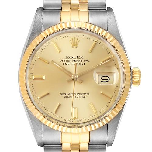 Photo of Rolex Datejust 36 Steel Yellow Gold Vintage Mens Watch 16013