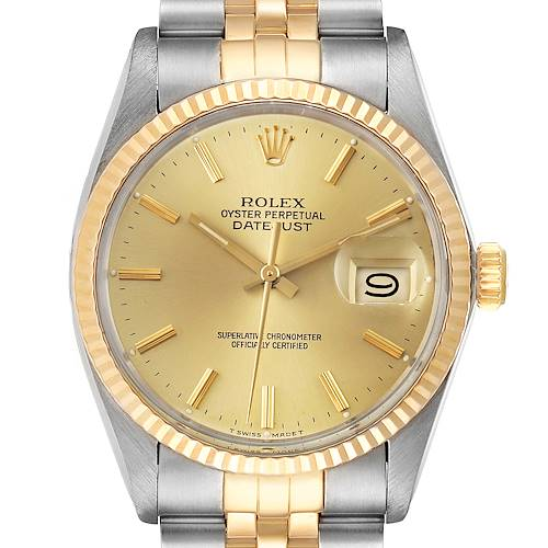 Photo of Rolex Datejust 36 Steel Yellow Gold Vintage Mens Watch 16013 Card