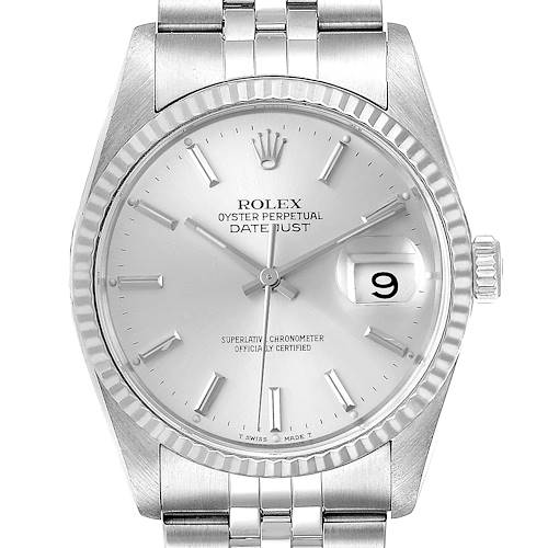 Photo of Rolex Datejust Silver Dial Fluted Bezel Steel White Gold Mens Watch 16234 Card