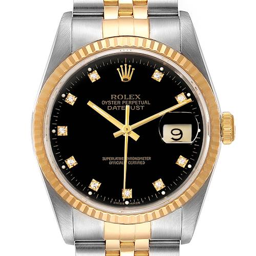 Photo of Rolex Datejust Steel Yellow Gold Black Diamond Mens Watch 16233 Papers