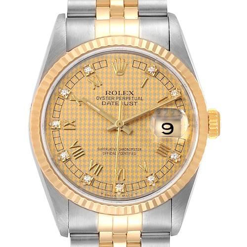 Photo of Rolex Datejust Steel Yellow Gold HoundsTooth Diamond Mens Watch 16233