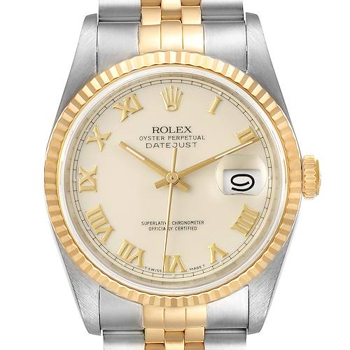 Photo of Rolex Datejust Steel Yellow Gold Ivory Roman Dial Mens Watch 16233