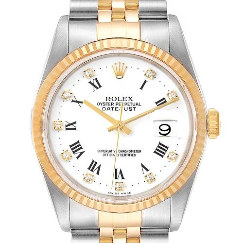 Photo of Rolex Datejust Steel Yellow Gold White Roman Diamond Dial Mens Watch 16233 Tag