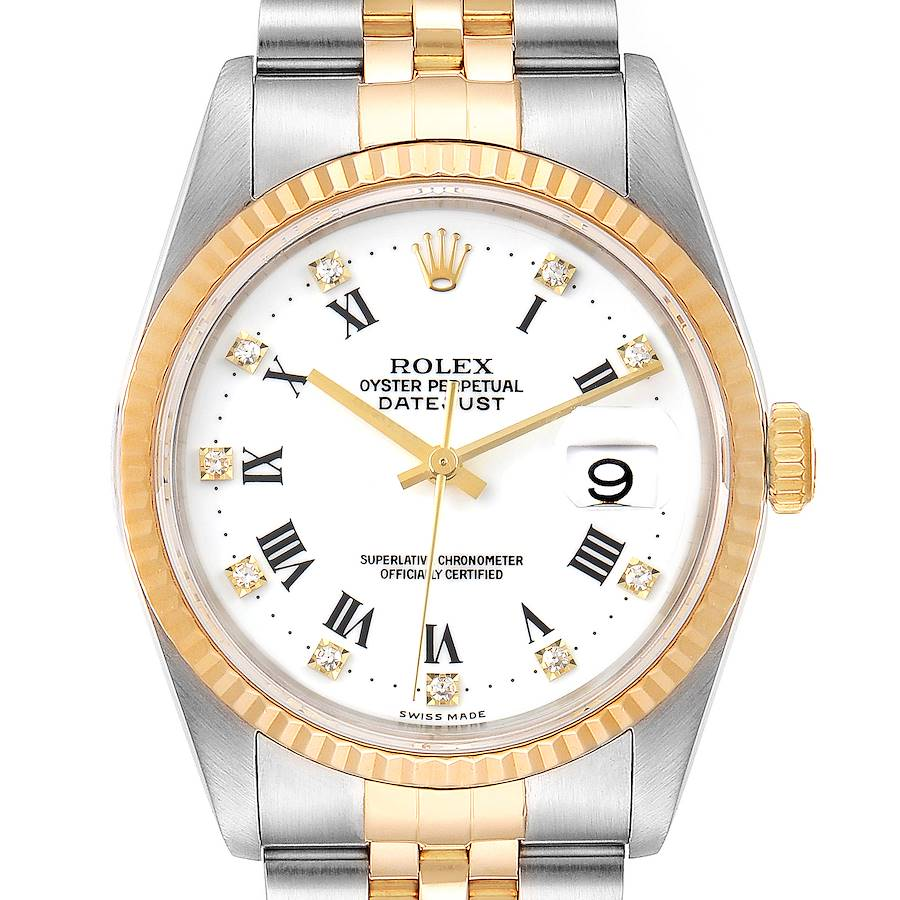 Rolex Datejust Steel Yellow Gold White Roman Diamond Dial Mens Watch 16233 Tag SwissWatchExpo