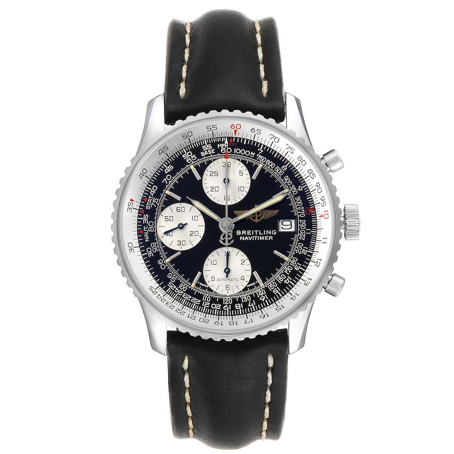 Breitling Navitimer II Black Dial Steel Mens Watch A13022 Box Papers SwissWatchExpo