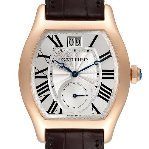 Photo of Cartier Tortue XL Silver Flinque Dial 18K Rose Gold Mens Watch W1556234
