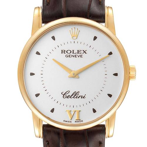 Photo of Rolex Cellini Classic 18k Yellow Gold Silver Dial Brown Strap Watch 5116 Box