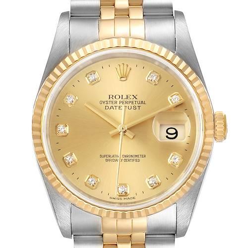 Photo of Rolex Datejust 36 Steel Yellow Gold Diamond Mens Watch 16233