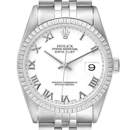 Photo of Rolex Datejust 36 White Roman Dial Steel Mens Watch 16220 Papers