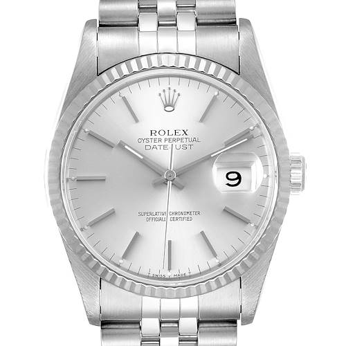 Photo of Rolex Datejust Silver Dial Fluted Bezel Steel White Gold Mens Watch 16234 Box