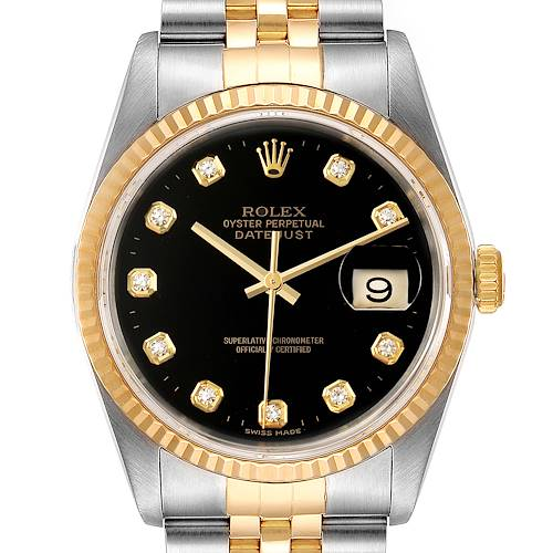 Photo of Rolex Datejust Steel Yellow Gold Black Diamond Mens Watch 16233