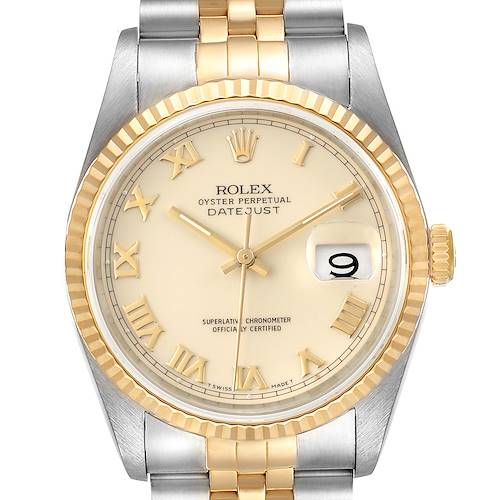Photo of Rolex Datejust Steel Yellow Gold Ivory Roman Dial Mens Watch 16233 Papers