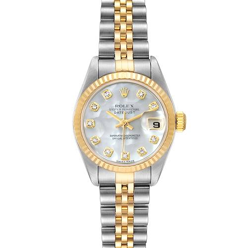 Photo of Rolex Datejust Steel Yellow Gold MOP Diamond Ladies Watch 79173 Box Papers