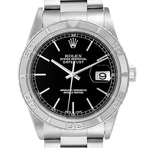 Photo of Rolex Turnograph Datejust Steel White Gold Black Dial Mens Watch 16264 Papers