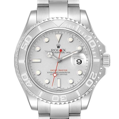 Photo of Rolex Yachtmaster 40 Steel Platinum Dial Bezel Mens Watch 16622 Box Papers