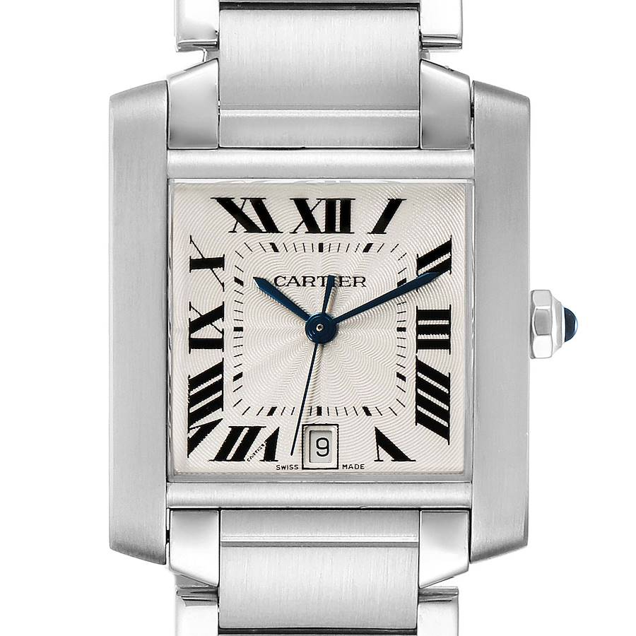 Cartier Tank Francaise Large Steel Automatic Mens Watch W51002Q3 Box SwissWatchExpo