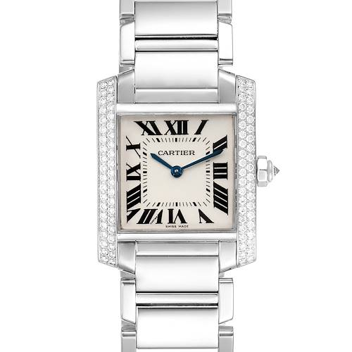 Photo of Cartier Tank Francaise Midsize White Gold Diamond Ladies Watch WE1009S3