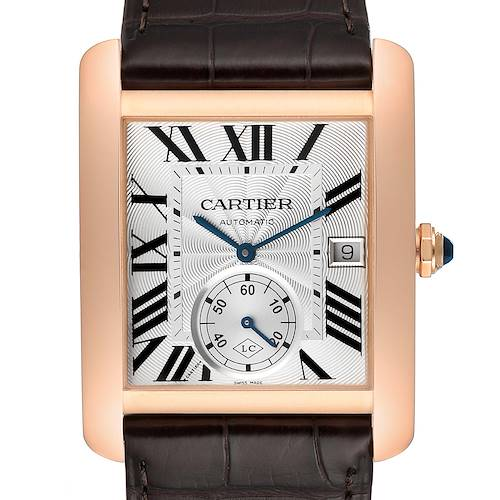 Photo of Cartier Tank MC Rose Gold Silver Dial Mens Watch W5330001 Box Papers