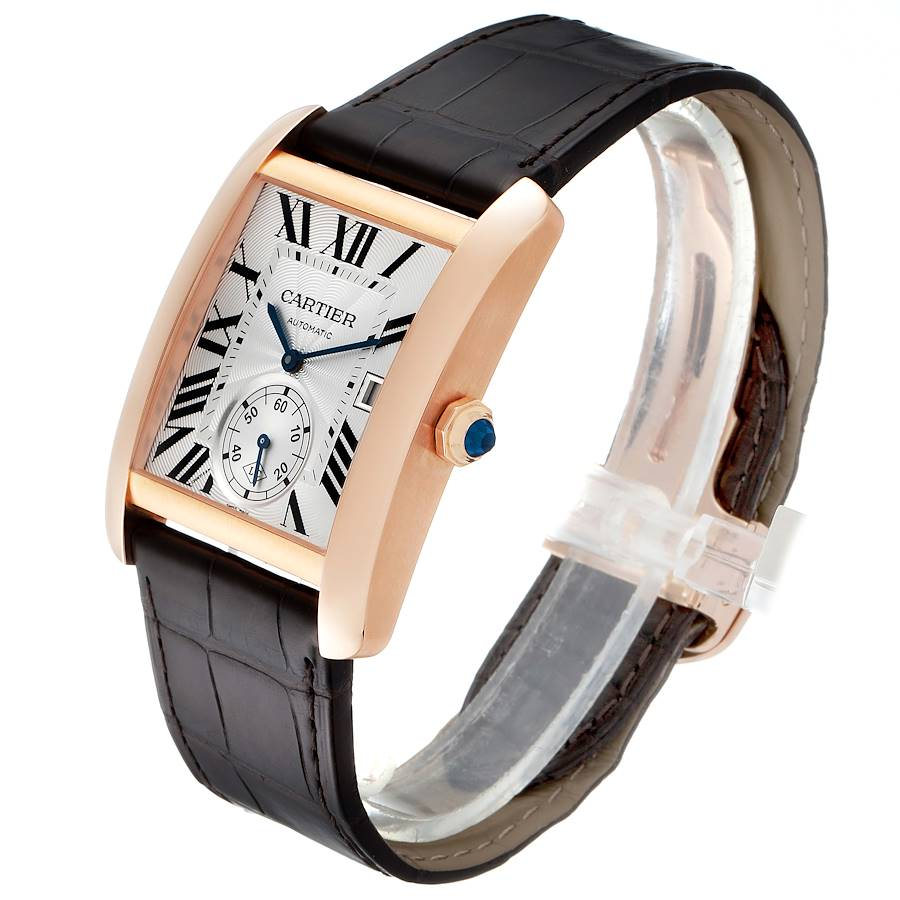 Cartier Tank MC Rose Gold Silver Dial Mens Watch W5330001 Box Papers SwissWatchExpo