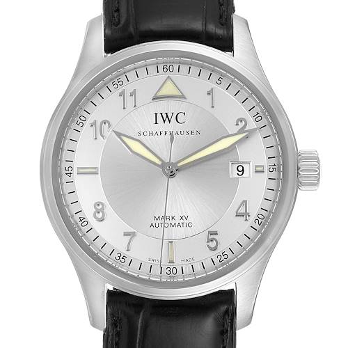 IWC Mark XV Spitfire Silver Dial Black Strap Steel Mens Watch IW325313