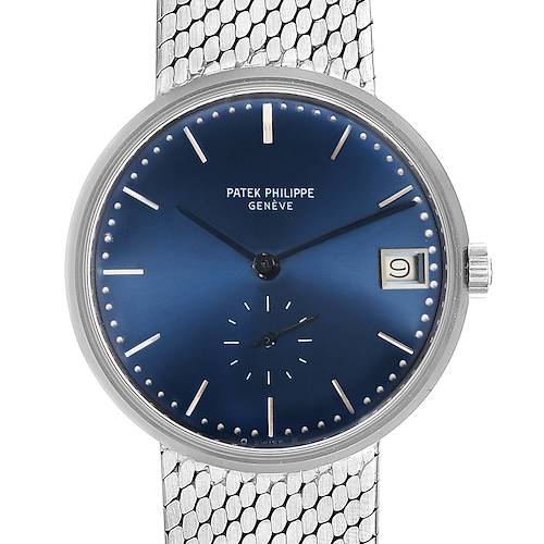 Photo of Patek Philippe Calatrava Blue Dial White Gold Vintage Automatic Watch 3514