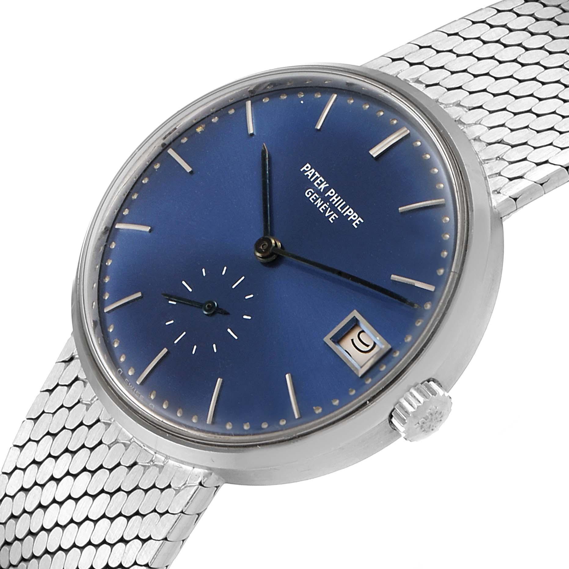 Patek Philippe Calatrava Blue Dial White Gold Vintage Automatic Watch 3514 SwissWatchExpo