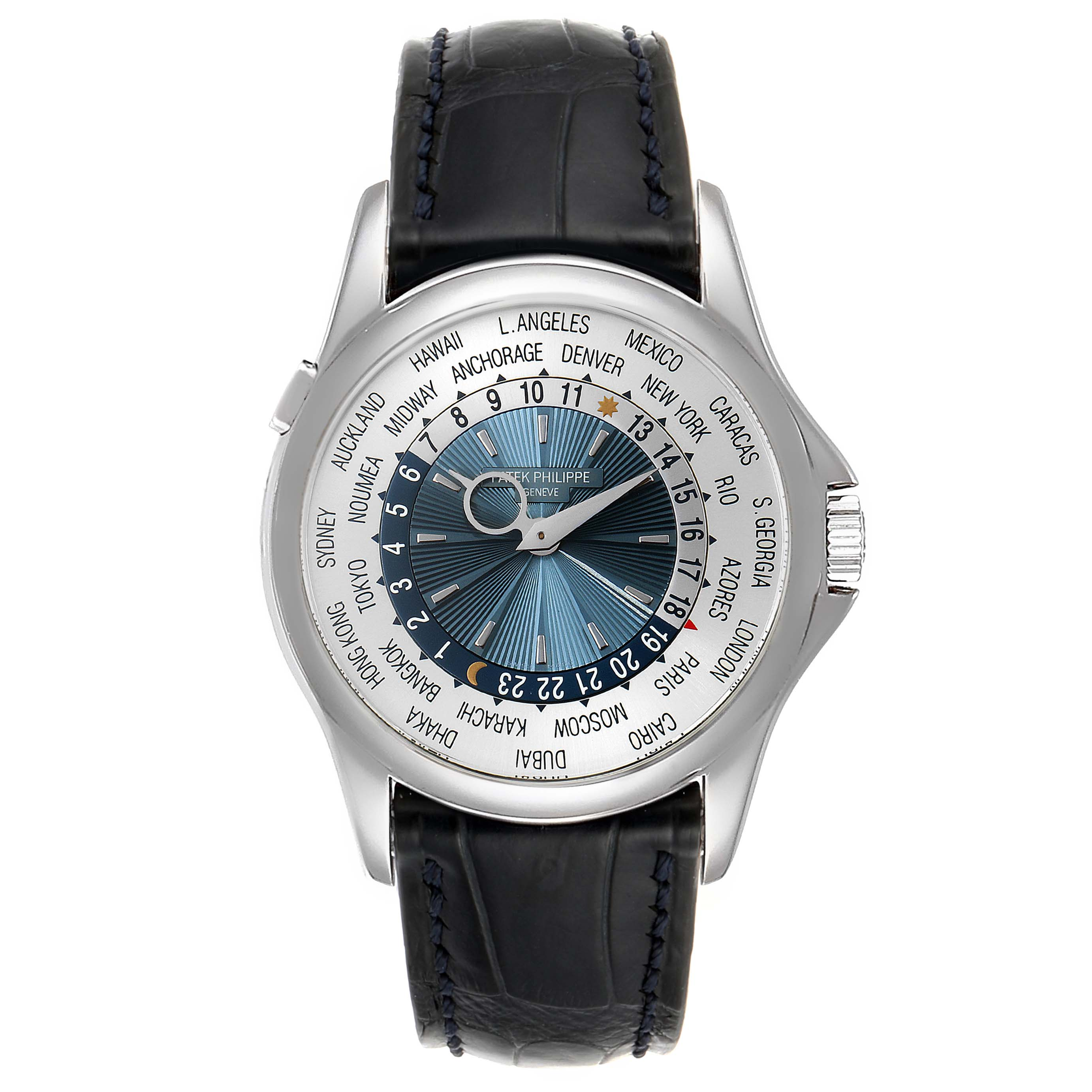 Patek Philippe World Time Complications Platinum Mens Watch 5130 Box Papers SwissWatchExpo