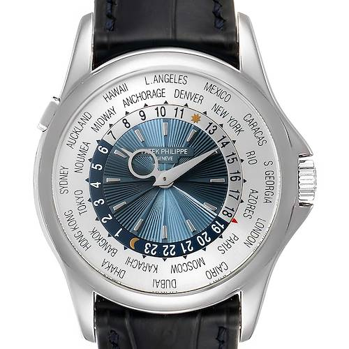 Photo of Patek Philippe World Time Complications Platinum Mens Watch 5130 Box Papers