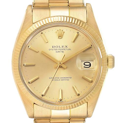 Photo of Rolex Date 18k Yellow Gold Oyster Bracelet Vintage Mens Watch 1503 Box