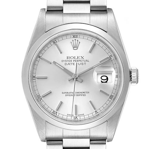 Photo of Rolex Datejust 36 Silver Baton Dial Steel Mens Watch 16200 Box