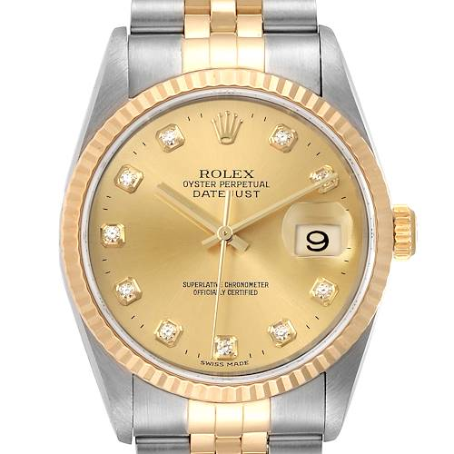 Photo of Rolex Datejust 36 Steel Yellow Gold Diamond Mens Watch 16233 Box Papers