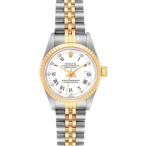 Photo of Rolex Datejust Steel Yellow Gold Roman Diamond Dial Ladies Watch 69173 Box