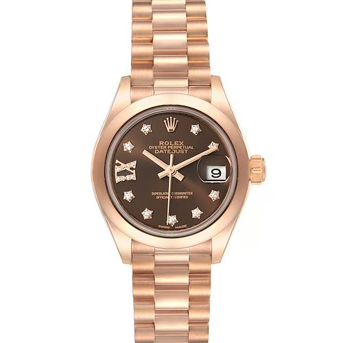 Photo of Rolex President 28 Rose Gold Chocolate Dial Ladies Watch 279165 Box Card