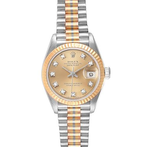 Photo of Rolex President Tridor White Yellow Rose Gold Diamond Ladies Watch 69179 Box Papers