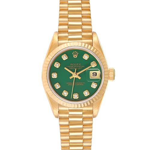 Photo of Rolex President Yellow Gold Green Stone Diamond Ladies Watch 69178 Box Papers