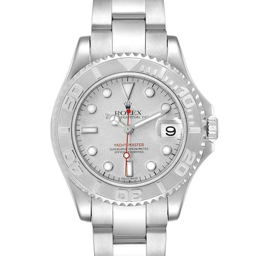 Photo of Rolex Yachtmaster 35mm Midsize Steel Platinum Mens Watch 168622 Box Papers