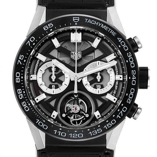 Photo of Tag Heuer Carrera Tourbillon Chronograph Titanium Mens Watch CAR5A8Y Box Card