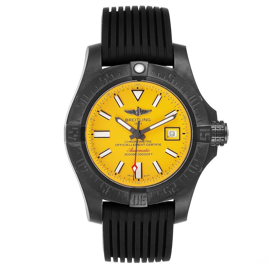 Breitling Avenger II Seawolf Cobra Yellow LE Blacksteel Watch M17331 Box Papers SwissWatchExpo